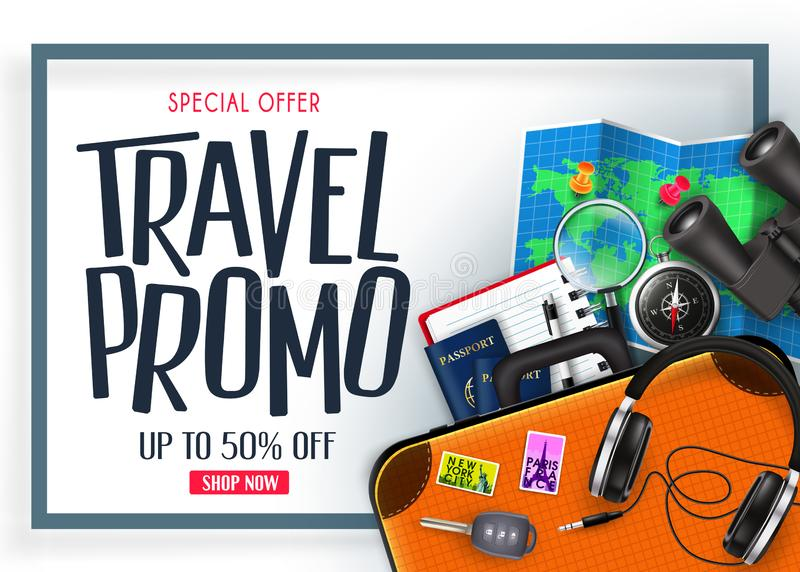Travel Promo Banner Special Offer Up To 50% Off with Blue Frame 3D Realistic Vector Traveling Item royalty free illustration