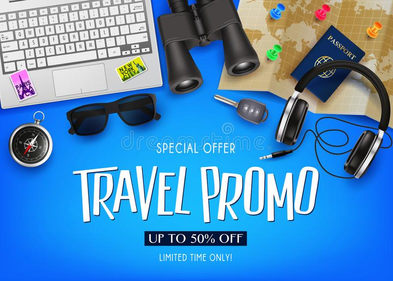 Travel Promo Banner Special Offer Up To 50% Off with 3D Realistic Vector Traveling Item Elements royalty free illustration