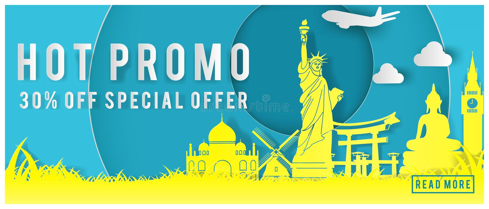 Travel promo banner with special price text and world famous landmarks in paper art design stock illustration