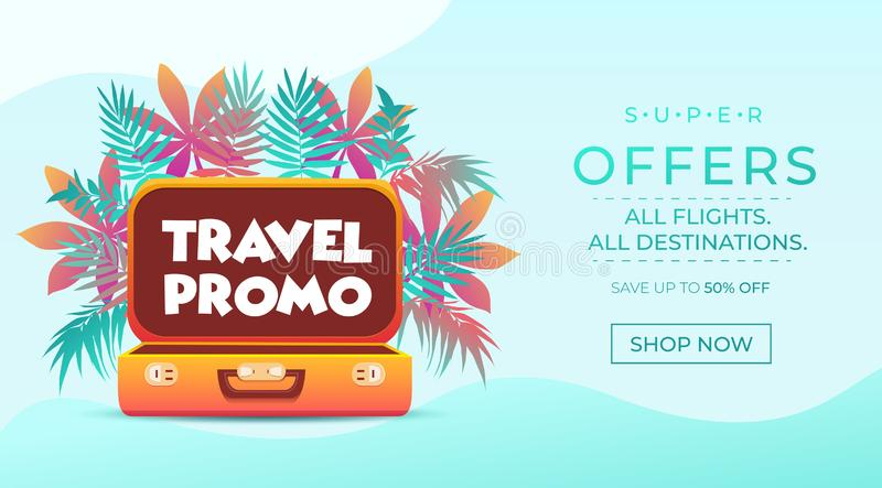 Travel promo banner. Vacation poster design. Travelling and tourism web banner concept. Summer background with Tropical leaves and. Suitcase. Vector travel stock illustration