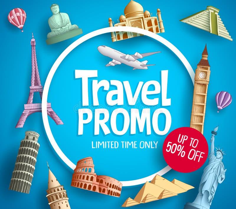 Travel promo vector banner promotion design with tourist destinations stock illustration