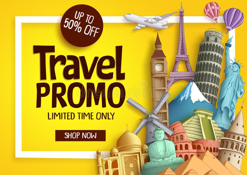 Travel promo vector banner template with discount text vector illustration