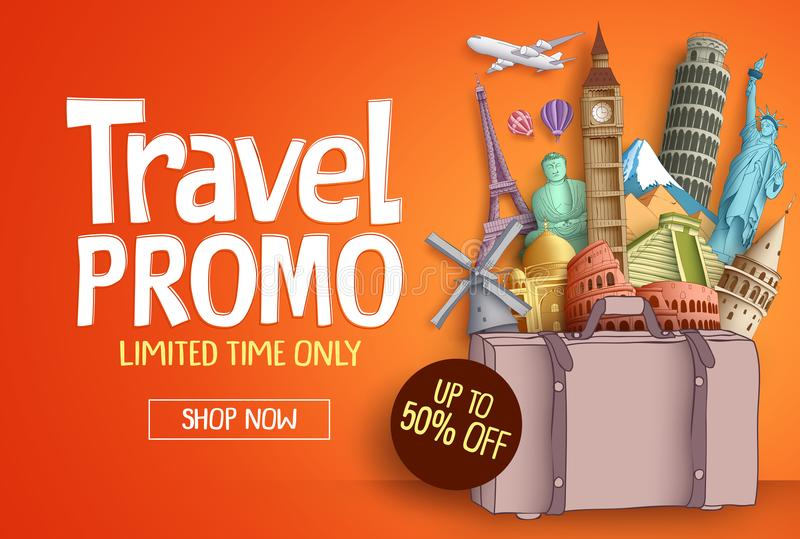 Travel promo vector banner template with world`s famous tourist landmarks. Baggage elements and discount text for travel agency. Vector illustration vector illustration