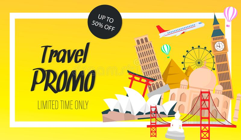 Travel Promo Website Banner, Flyer Vector Template royalty free illustration