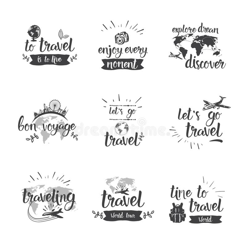 Travel Quotes Icon Set Hand Drawn Lettering Tourism And Adventure Concept. Vector Illustration vector illustration