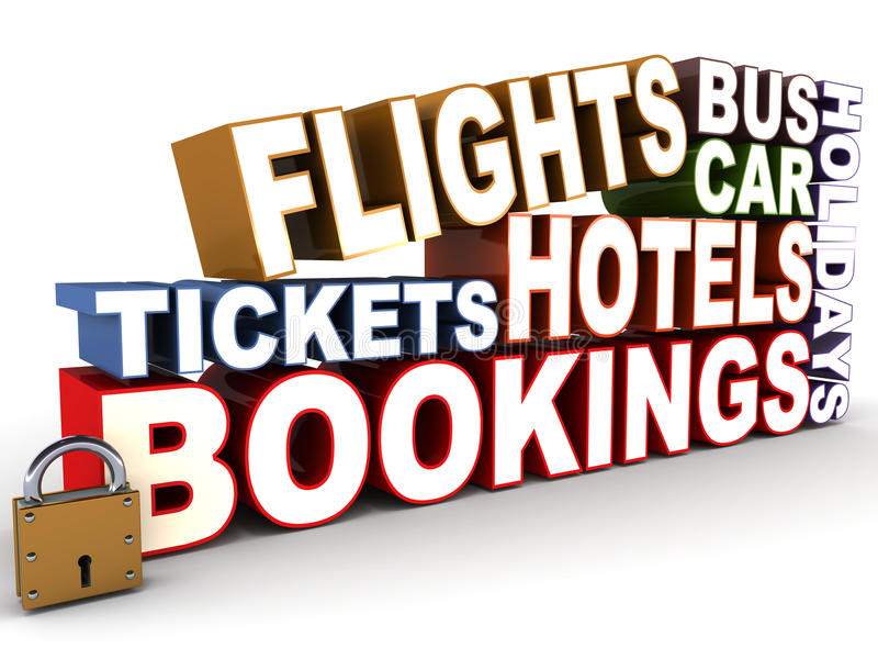 Travel related. Booking words collection, flights, bus, car, hotels, tickets, bookings and holidays vector illustration
