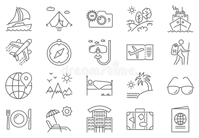 Travel Related Vector Line Icon Set. stock illustration