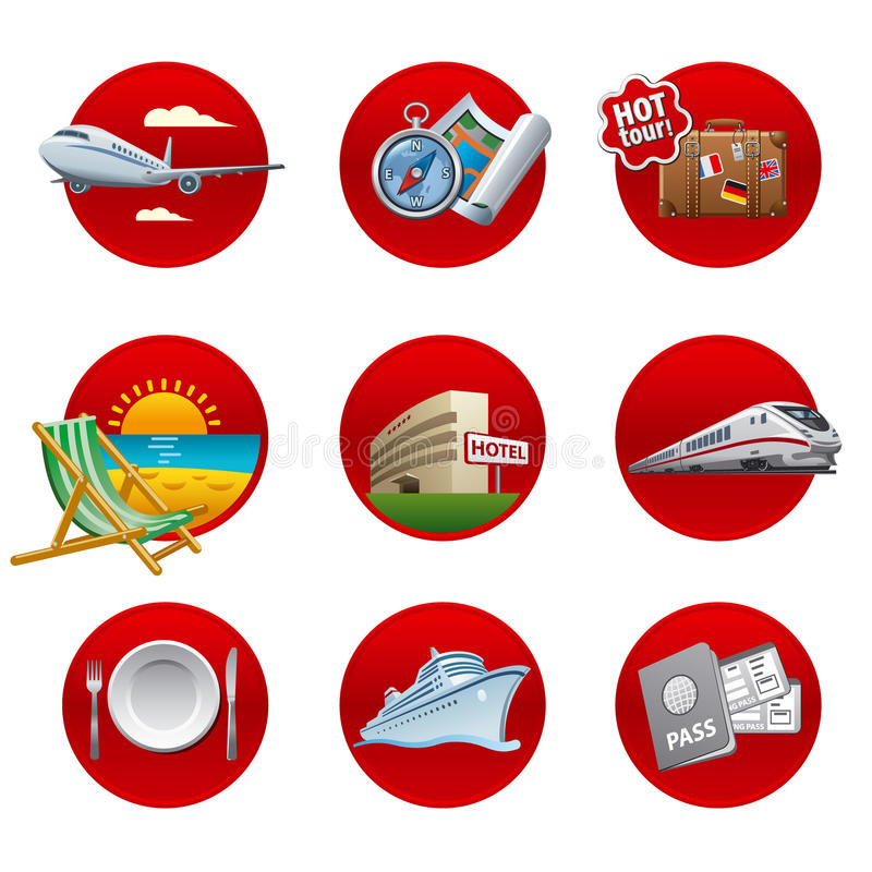 Travel and resort icon set royalty free illustration