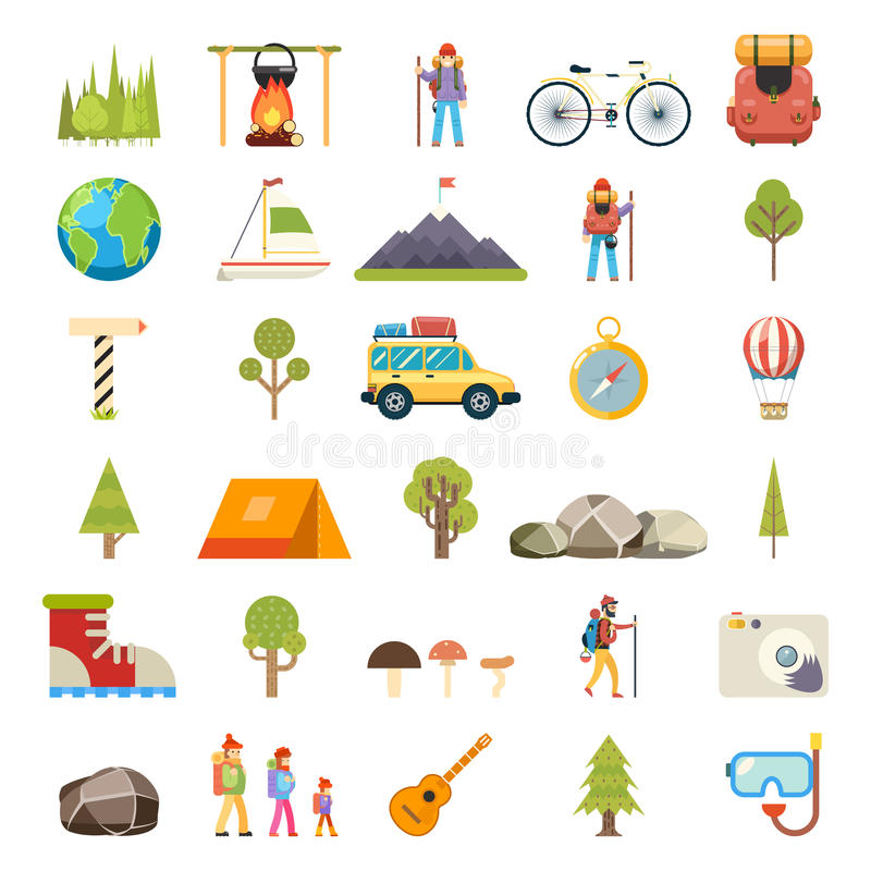 Travel Rest Symbols Tourist Accessories Icons Set Flat Design Template Vector Illustration vector illustration