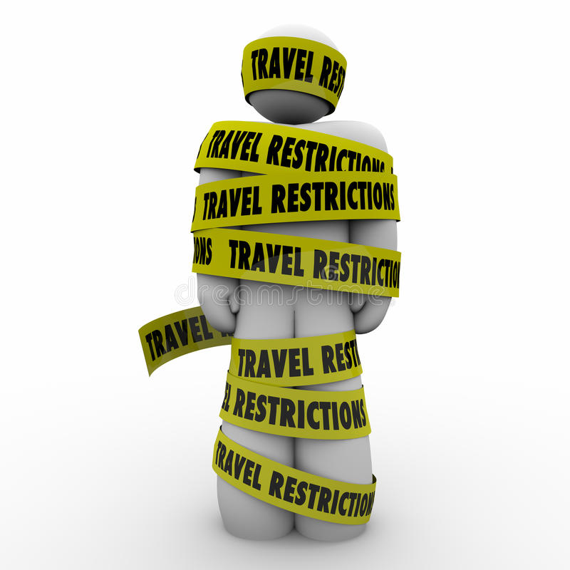 Travel Restrictions Man Wrapped Yellow Tape Danger Warning. Man wrapped in yellow tape reading Travel Restrictions warning of dangers or risks in visiting royalty free illustration