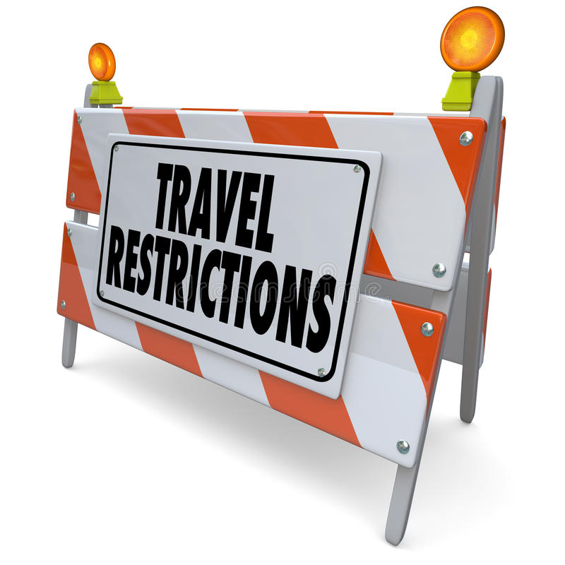 Travel Restrictions Road Construction Barrier Warning Danger Sign. Travel Restrictions words on a road construction barrier, barricade or sign warning and stock illustration