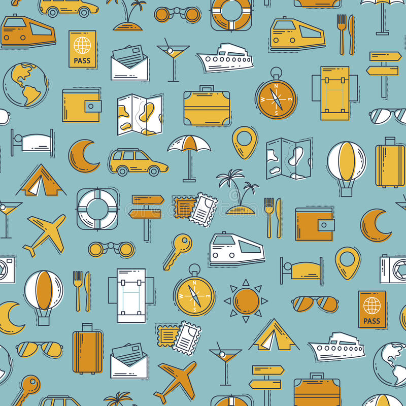 Travel retro line icons vector seamless pattern. Vintage classic colors background. Illustration for web and mobile. Vacation concept vector illustration