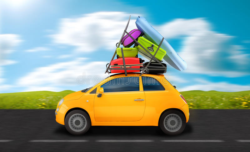 Travel on the road. Car weigh down to baggages travel on the road
