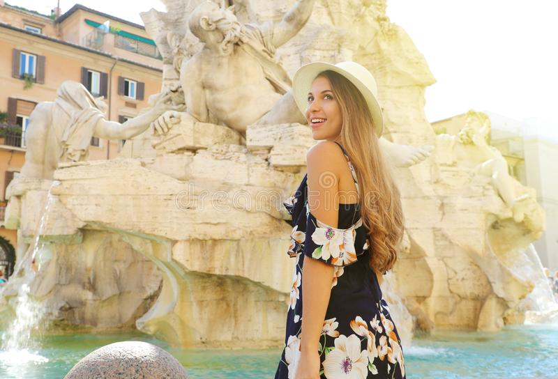 Travel in Rome. Portrait of beautiful girl visiting Piazza Navona square landmark in Rome. Summer holidays in Italy stock image