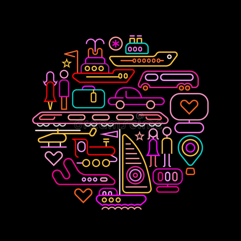 Travel round shape neon colors illustration stock illustration
