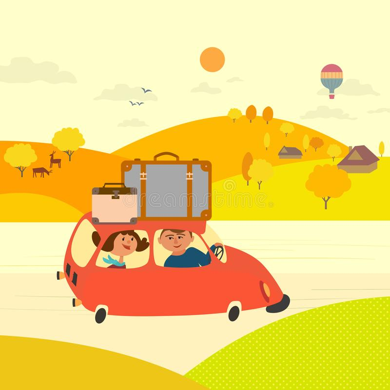 Travel by rural road vector illustration
