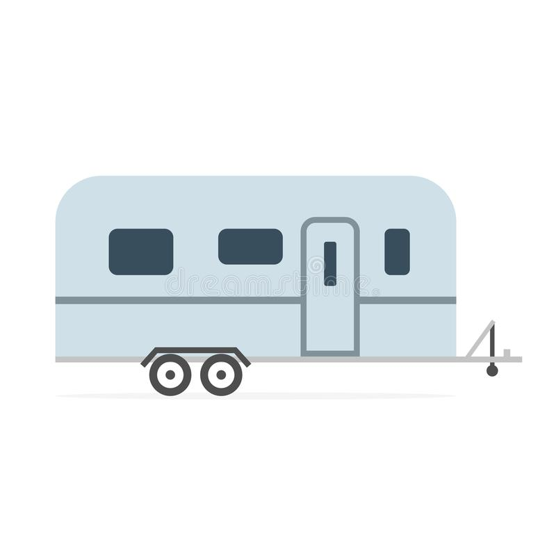 Travel rv trailer icon. Clipart image isolated on white background stock illustration