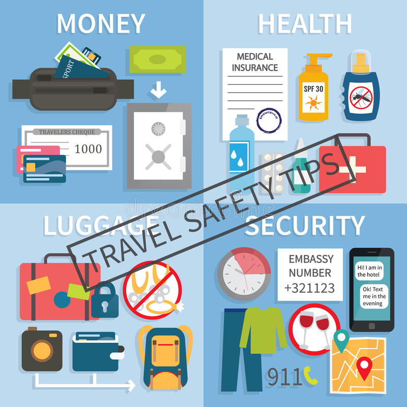 Travel Safety Tips Stock Vector. Illustration Of Rule