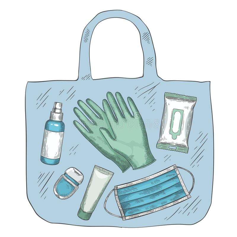 Free Travel Sanitizer Kit. Disinfectant, Medical Mask, Gloves, Alcohol Spray And Wipes In Bag. New Normal Life During Covid Stock Photos - 204490293