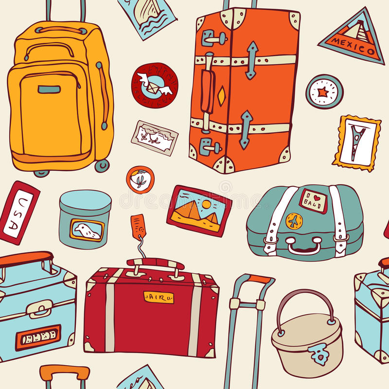 Download Travel Seamless Background. Suitcases And Bags. Stock Photo - Image: 25935940