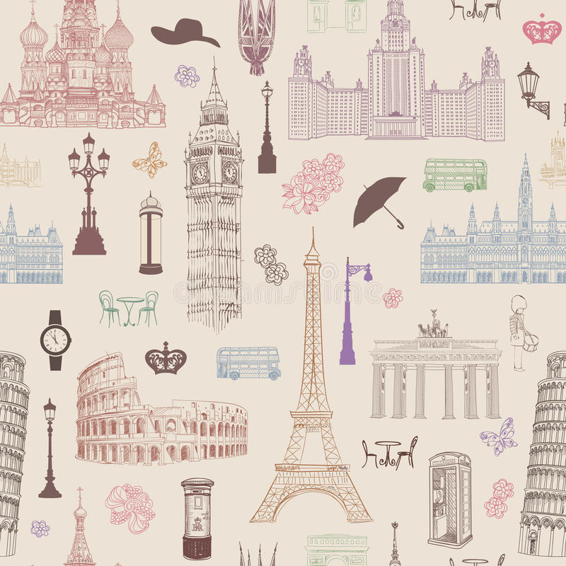 Travel seamless pattern. Vacation in Europe wallpaper. Travel concept royalty free illustration