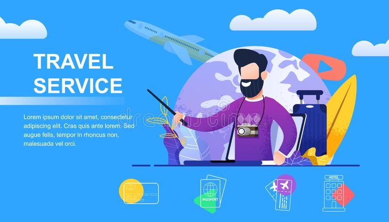 Travel Service Selection yours Individual Holidays. Banner Vector Illustration Young Bearded Man with Camera. Travel to Land Dreams. Plane Flying off against vector illustration
