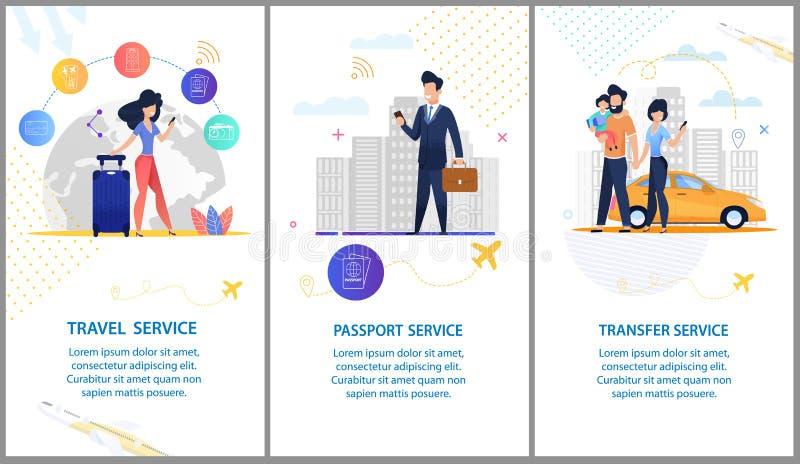 Travel Service Serviço do passaporte Serviço de transferência ilustração stock