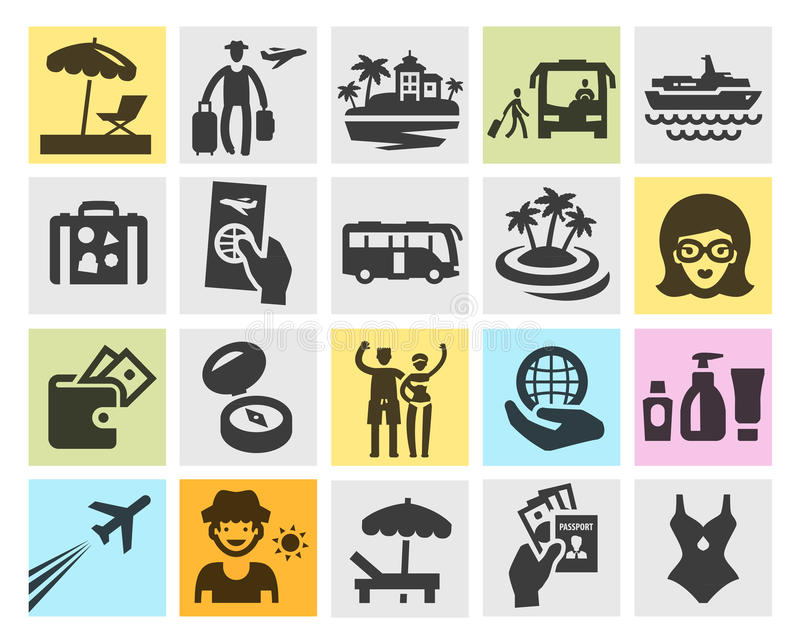Travel Set Black Icons Signs And Symbols Stock Vector