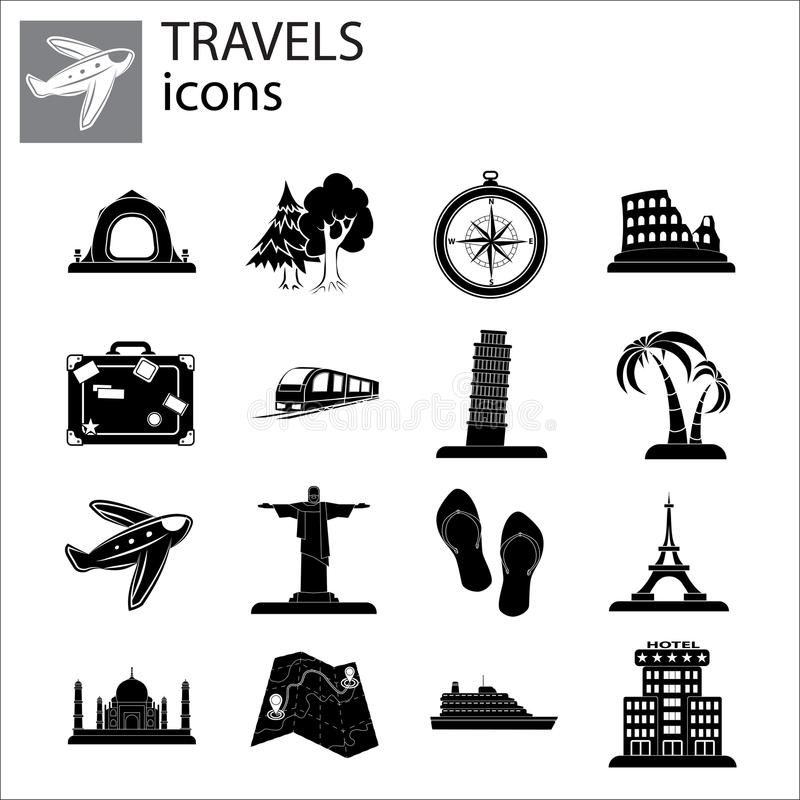 Travel Set icon vector stock illustration