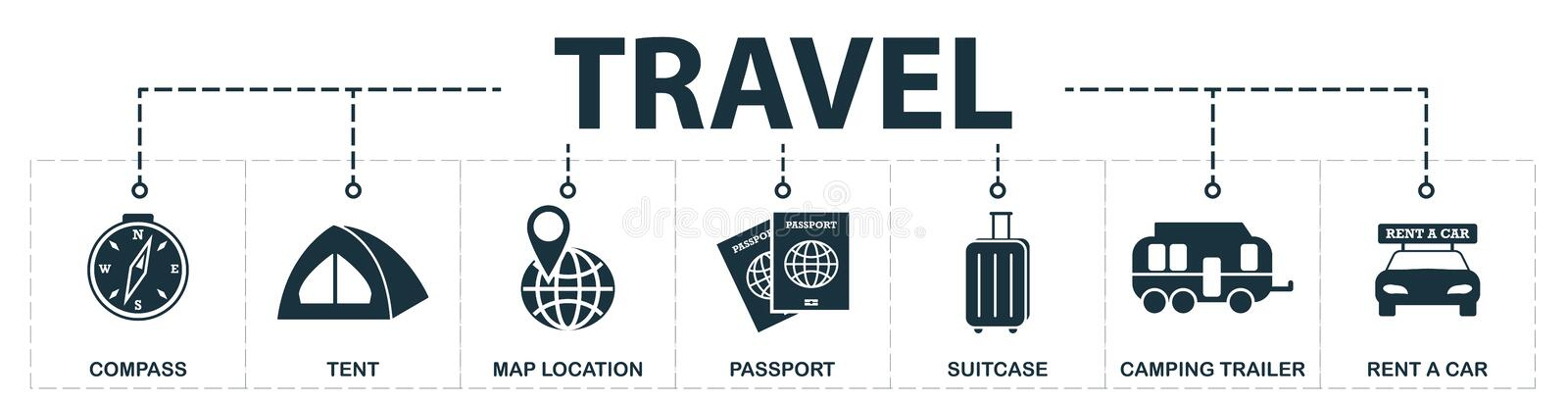 Travel set icons collection. Includes simple elements such as Compass, Tent, Map Location, Passport, Suitcase, Camping Trailer and. Rent A Car premium icons vector illustration