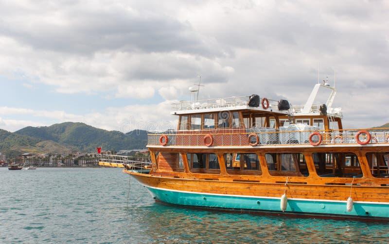 Travel Ship in Marmaris. Wooden double decker travel Ship in Marmaris, Turkey stock images