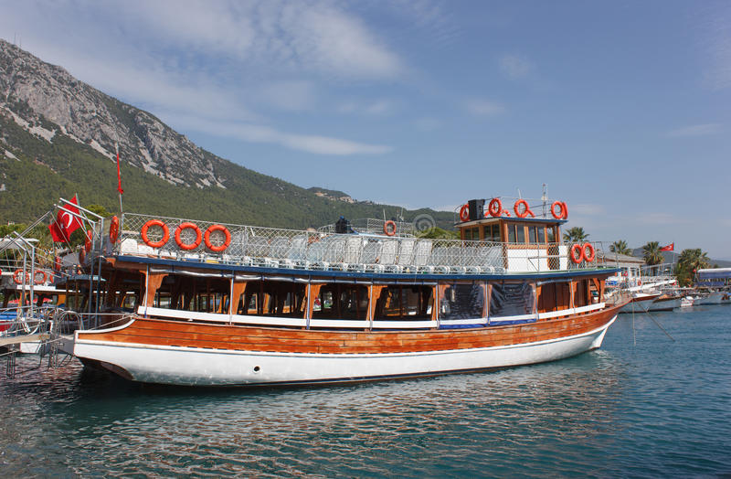 Travel Ship. Wooden double decker travel Ship in Mugla (Akkaya),Turkey stock photography