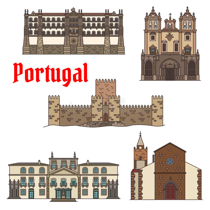 Travel sight of portuguese architecture icon set. With linear Santa Clara Convent, Roman Catholic Funchal Cathedral, ancient castle with tower , Cathedral of stock illustration