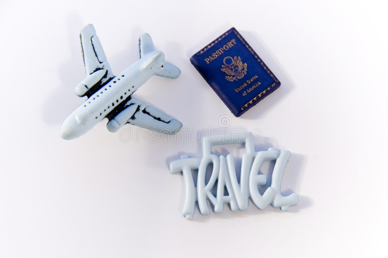Travel Sign with Plane. Travel Sign with toy plane and passport royalty free stock photography