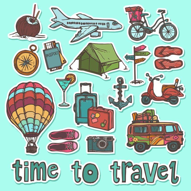 Travel sketch stickers set. Travel holiday vacation sketch stickers set of passport bike slippers isolated vector illustration vector illustration