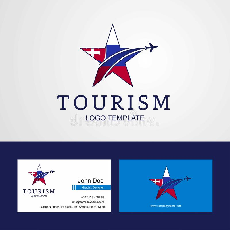Travel Slovakia flag Creative Star Logo and Business card design royalty free illustration