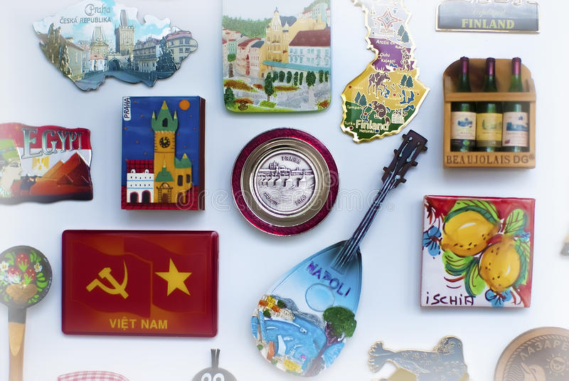 Travel souvenirs, magnets on fridge stock photo