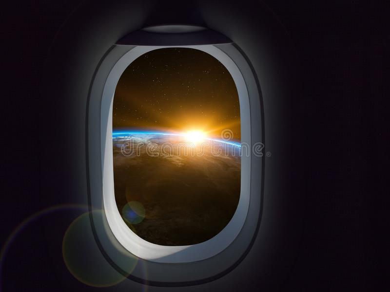 Travel Space Commercial concept. Airplane or spaceship window looking earth planet stock photos