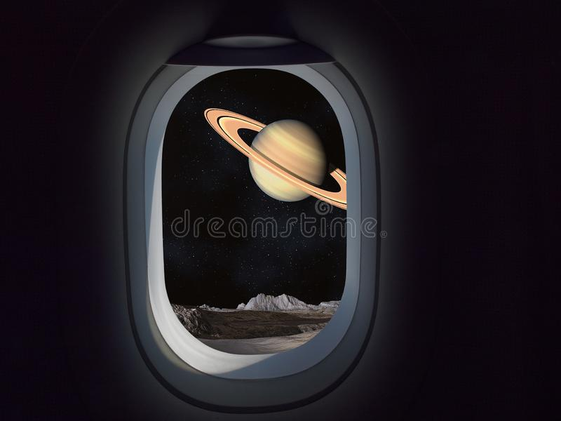 Travel Space Commercial concept. Airplane or spaceship window looking at planet with rings royalty free stock image