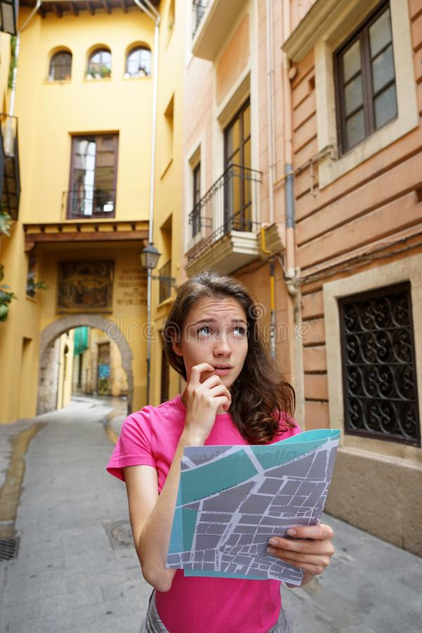 Tourist got lost the way. royalty free stock photos