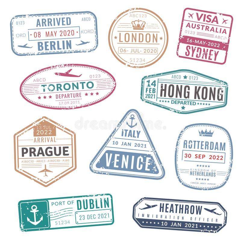 Travel stamp. Vintage passport visa international arrived stamps with grunge texture. Isolated vector set vector illustration