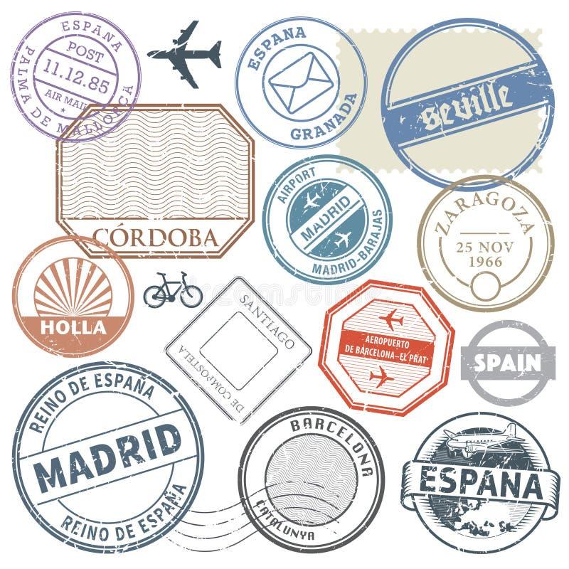 Travel stamps or adventure symbols set Spain theme, vector illus royalty free illustration