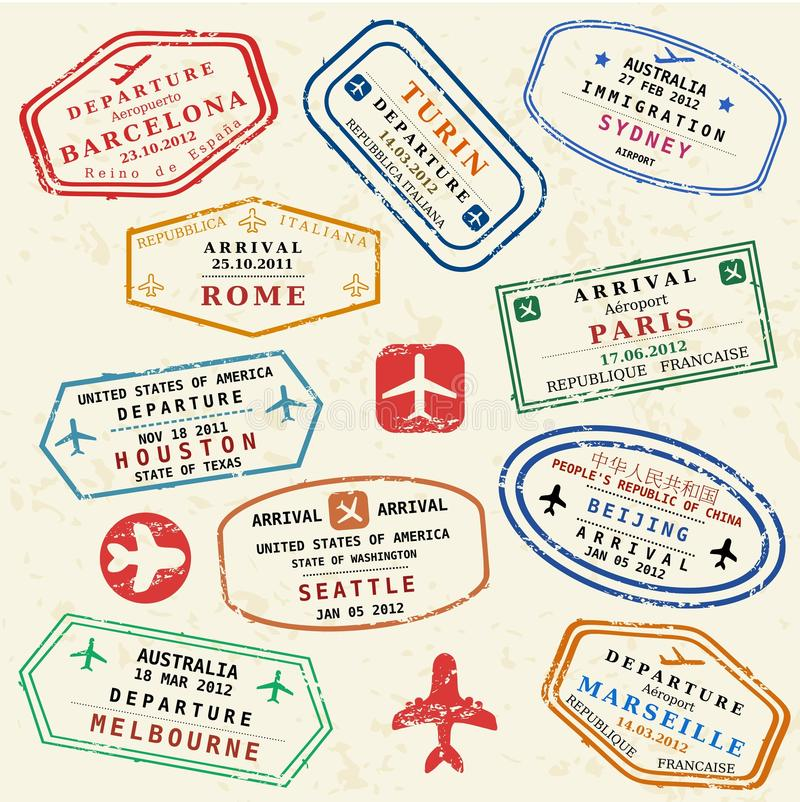 Travel stamps. Colorful fictitious visa stamps set. International business travel concept. Frequent flyer visas