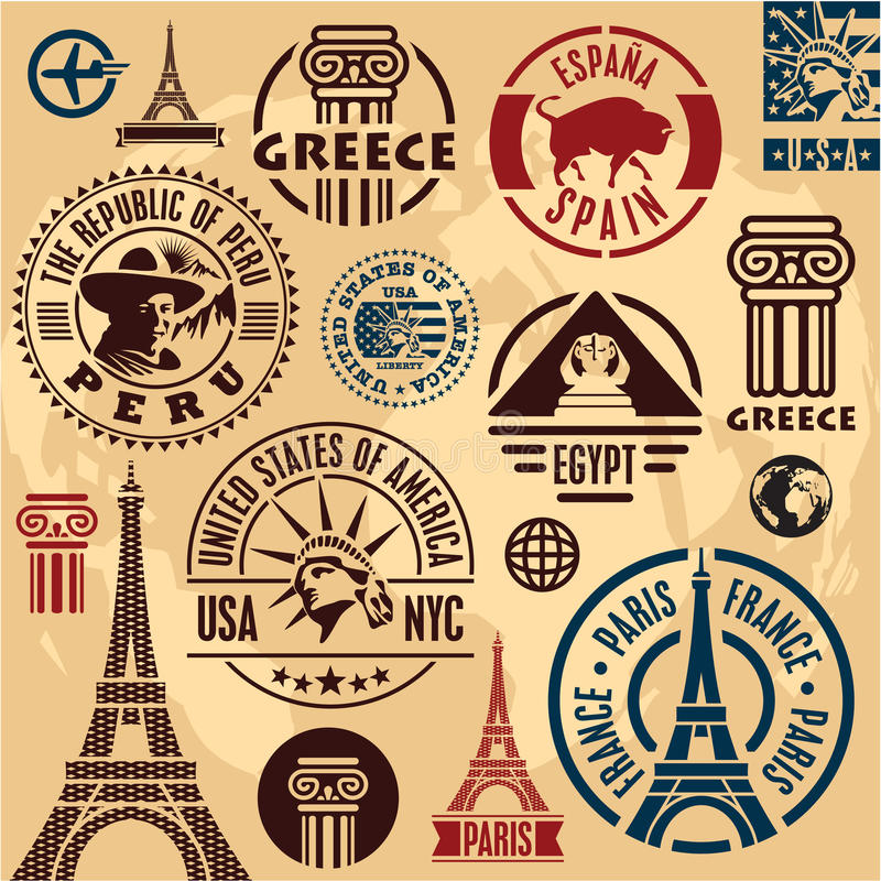 Travel stamps royalty free illustration