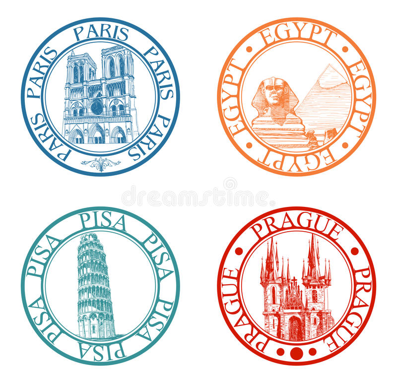 Travel stamps set. Detailed travel stamps collection: Pisa, Paris, Prague, Egypt
