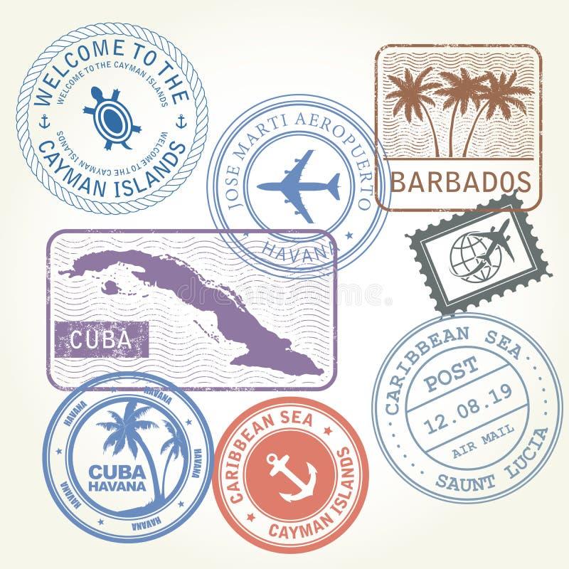 Travel stamps set Caribbean Sea. Theme vector illustration