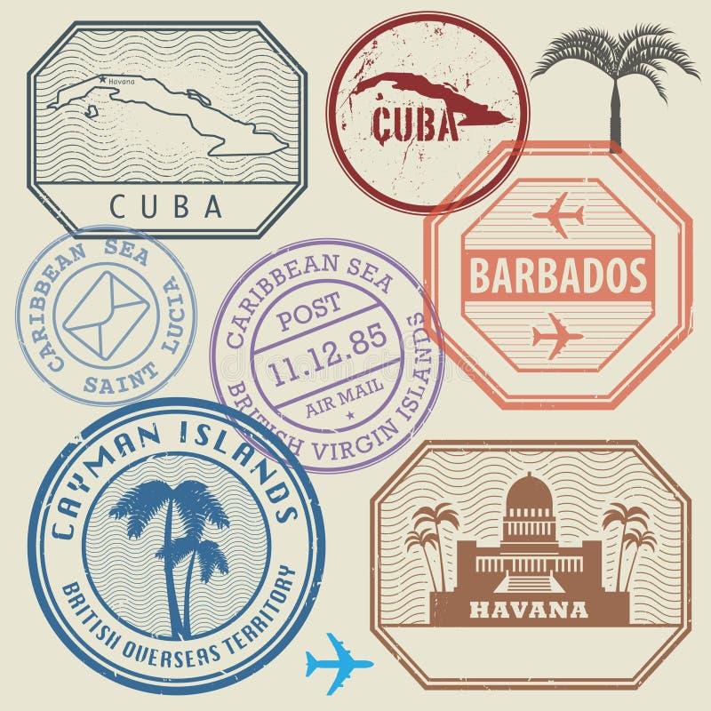 Travel stamps set Caribbean Sea theme. Vector illustration royalty free illustration