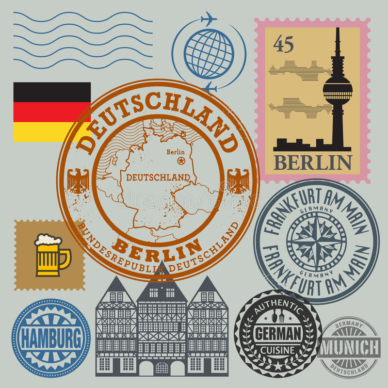 Travel stamps set. Color illustration royalty free illustration