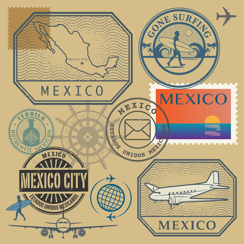 Travel stamps set, Mexico. Vector illustration vector illustration