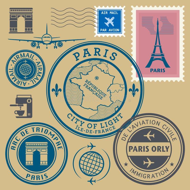 Free Travel Stamps Set, Paris Theme Royalty Free Stock Photos - 49296158